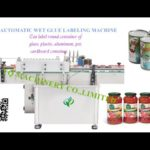 1L Iron can tin cold paste labeling machines video test for alonso wet glue paper label application