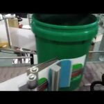automatic big bucket labeling machine clip round cans label applicator self adhesive labeler