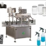 Inline Type Auto wild-mouth bottle Capping Labeling Machine Cover Lid Screwing Solution