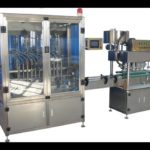 Auto urea solution filling line 8 heads filling single heads screw capping machine two sided labeler