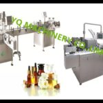 bottle rotary table volumetric piston pump filling four wheels sealing sticker labeling and boxing m