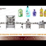 1L plastic bottle filling capping and double side labeling machines for disinfectant liquid soap