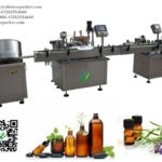 Auto 8ml essential oil glass bottle filling line with feeder vial filler rotary capper labeler video