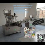 auto liquid volumetric filling  cap screwing and adhesive labeling machines for  Malaysia client