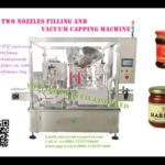 Two nozzles chili sauce filler piston pump inline filling rotary metal lid vacuum capping machine