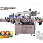 double side sticker label applicator machine for 5L engine oil flat surface labeling machinery