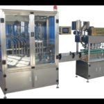 Round bottle feeding 16 nozzles filling S shape capping cold glue labeling machine bottling line