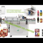 round container paste paper label application machine tins cans bottles wet glue labeller testing vi