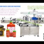 square jar chilli sauce labeling machine for front and back two sides label applicator factory