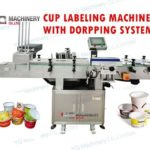 taper cup labeling machine with cups dropping system sticker labeler