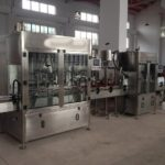 Automatic floor cleaning liquid filler capping double sided labeling machine linear filling line