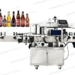 Automatic two sided label applicator for soy sauce beer glass bottle body and neck labeling machine
